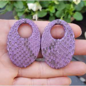 Creole earrings set with oval shaped pendant of purple Snakeskin
