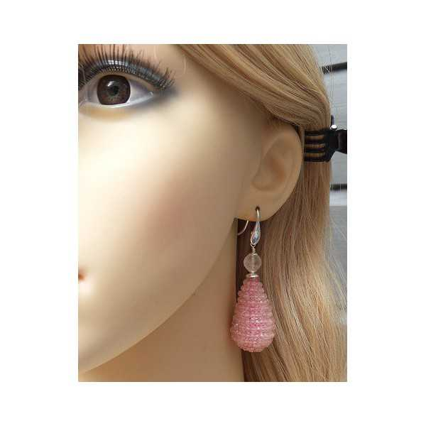 Silver earrings large drop of faceted rose quartz stones