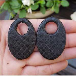 Creole earrings set with oval pendant, black Snakeskin