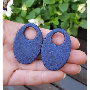 Creole Ohrringe-set mit ovalen Anhänger der blau Snakeskin