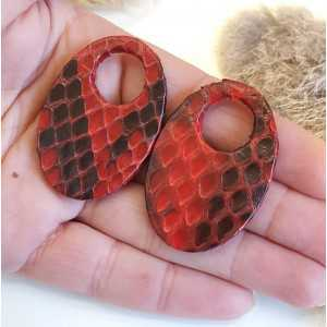 Creole Ohrringe-set mit ovalen Anhänger des dunklen rot Snakeskin