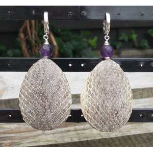 Silver earrings with Amethyst and drop of Snakeskin