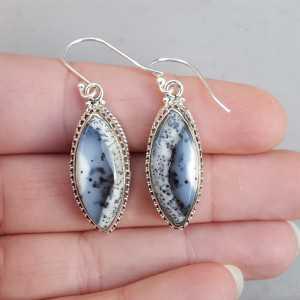 Silber Ohrringe mit marquise Dendriten Opal geschnitzt-Einstellung