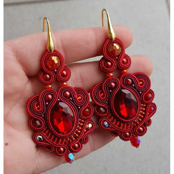 Earrings with red handmade pendant