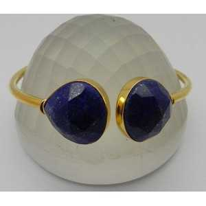 Gold plated bracelet set with faceted Lapis Lazuli