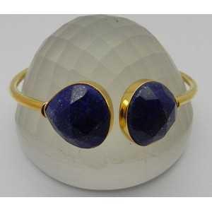 Vergulde armband gezet met facet Lapis Lazuli