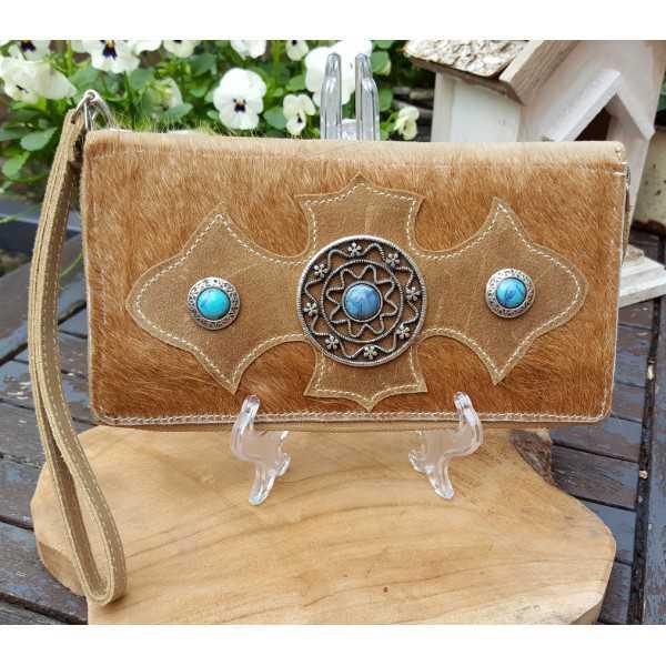 Cowhide portemonnnee bag light brown