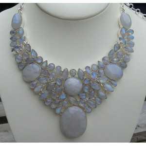 Silber Halskette set mit cabochon Mondsteine