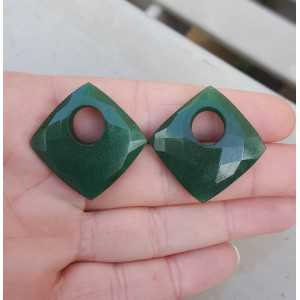 Creole earrings set with square Emerald