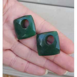 Creole Ohrringe-set mit quadratischen Smaragd