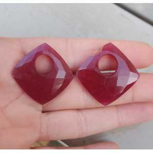 Creole Anhänger-set square Ruby