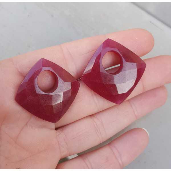 Creole pendant set square Ruby