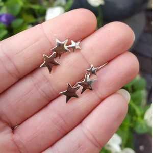 Silver earclimber with silver stars