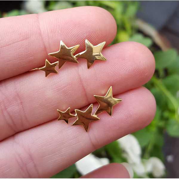 Goud vergulde earclimber met zilveren sterren