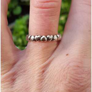 Zilveren ring hartjes verstelbaar