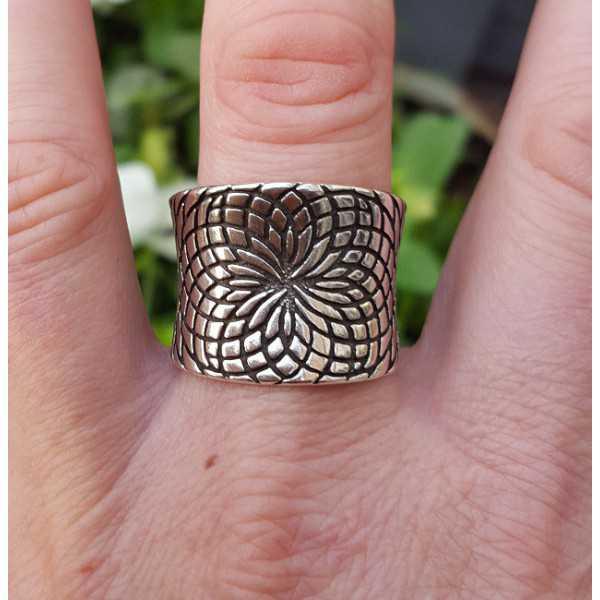 Zilveren brede duim ring verstelbaar