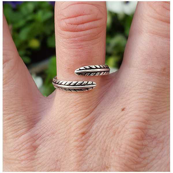 Zilveren ring veertjes verstelbaar