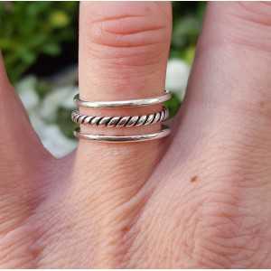 Zilveren ring drie lagen verstelbaar