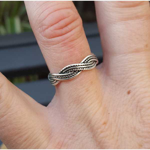 Zilveren ring gevlochten verstelbaar