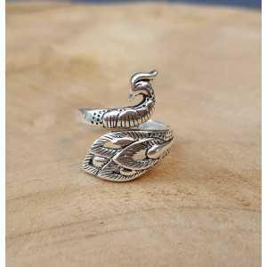 Zilveren ring pauw verstelbaar