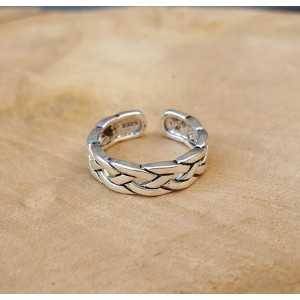 Zilveren schakel ring verstelbaar 01