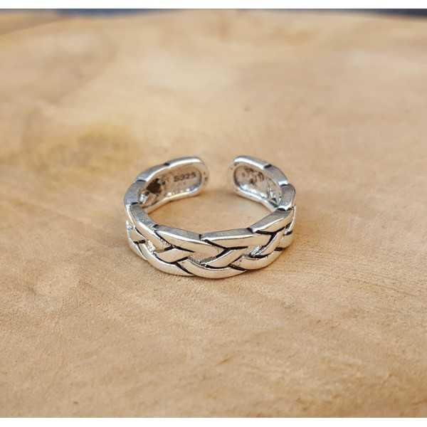 Silver link ring verstellbar 01