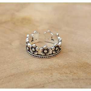 Silber ring-Blume-Krone-verstellbare