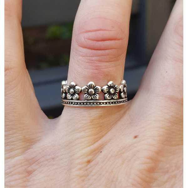 Zilveren ring bloemen kroon verstelbaar