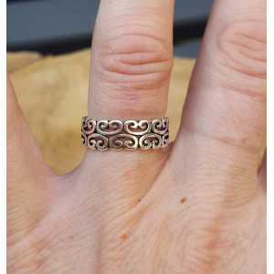Zilveren ring wave verstelbaar