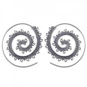 Zilveren spiraal creolen 01