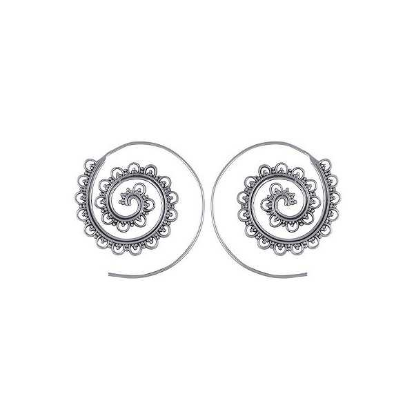 Silber Spirale Kreolen 03