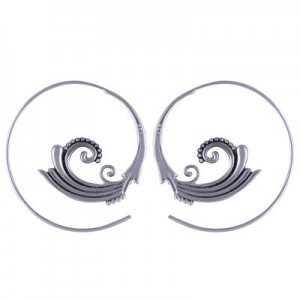 Zilveren spiraal creolen 04