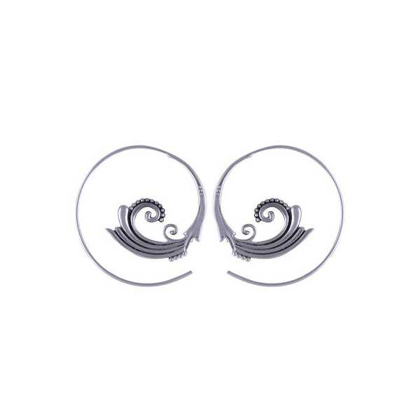 Silber Spirale Kreolen 04