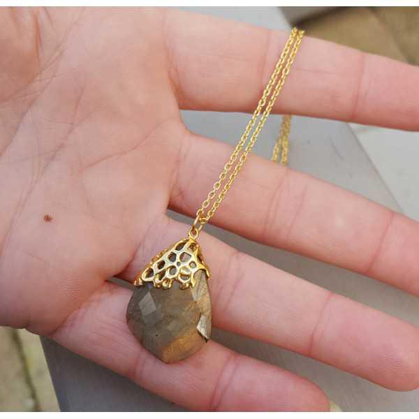 Goud vergulde ketting met hanger van Labradoriet