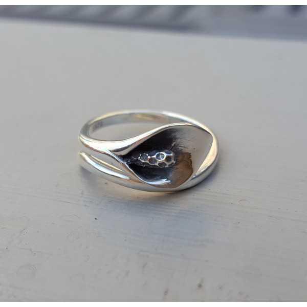 Zilveren ring met aronskelk verstelbaar