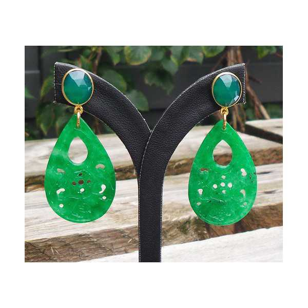 Gold plated earrings with carved Jade and green Onyx