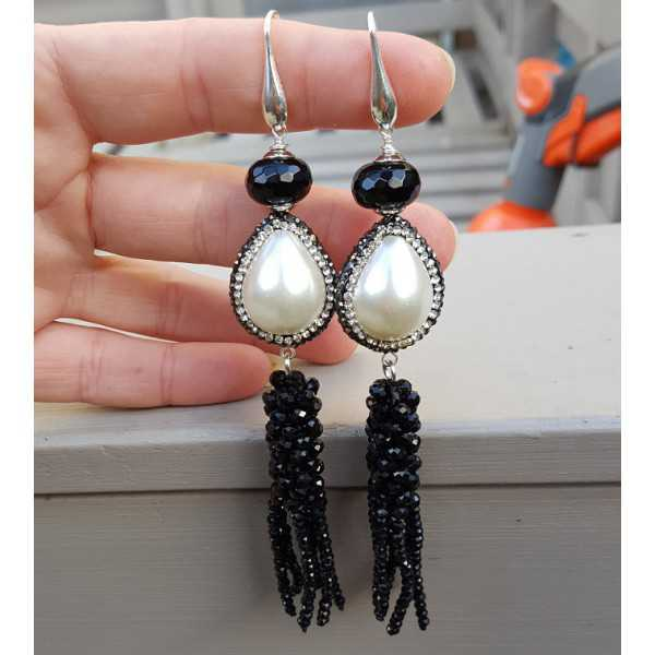 Silver earrings with Onyx Pearl with crystal and tassel