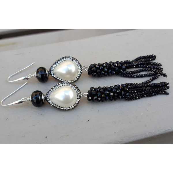 Ohrringe Silber mit Onyx-Perle mit crystal und Quaste