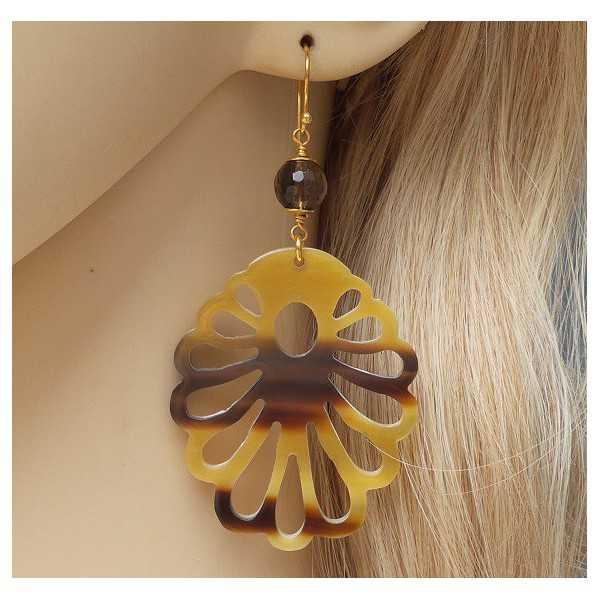 Vergoldete Ohrringe mit cut-out-buffalo horn und Smokey Topaz
