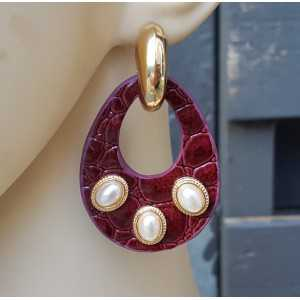 Gold-plated creoles with bordeaux red I'm Ecoleather and ornaments