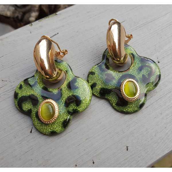 Vergoldete creole mit grünen Klee-förmigen Ohrringe aus Harz und Ornamente