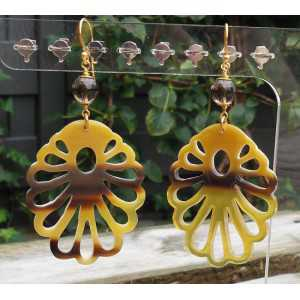 Gold plated earrings with cut-out buffalo horn and Smokey Topaz