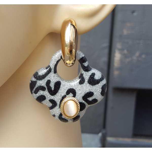 Vergoldete Kreolen mit Grau-Klee-förmigen Ohrringe aus Harz und Ornamente