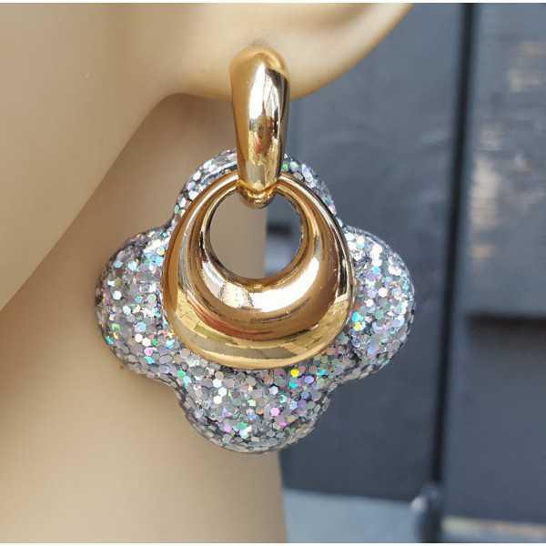 Vergoldete Kreolen mit Silber glitter-Klee-förmigen Ohrringe aus Harz