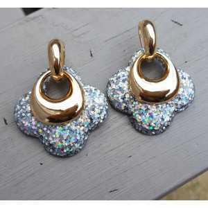Goud vergulde creolen met zilveren glitter klaver oorhangers van resin