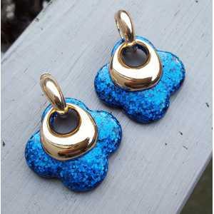 Vergoldete Kreolen mit blauen glitter-Klee-förmigen Ohrringe aus Harz