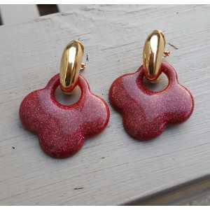 Vergoldete creole mit rotem glitter-Klee-förmigen Ohrringe aus Harz