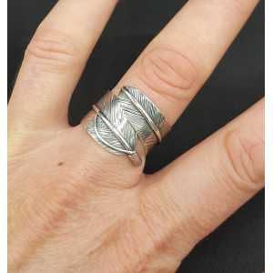 Silver wide feather ring adjustable