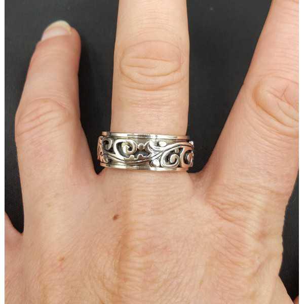 Silber geschnitzt-band-ring 19 mm