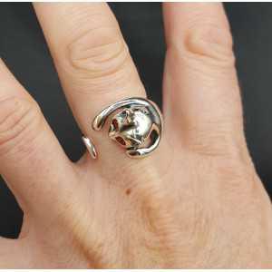 Zilveren ring kat verstelbaar